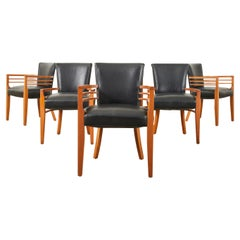 Set of Six Knoll Art Deco Style Leather Dining Armchairs