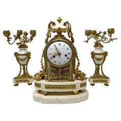 Antique French Louis XVI White Marble & Gold Bronze 3 Piece Garniture Clock Set
