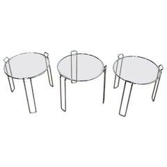 Mid-Century Modern Saporiti Set of 3 Chrome Glass Round Nesting Side Tables 60s
