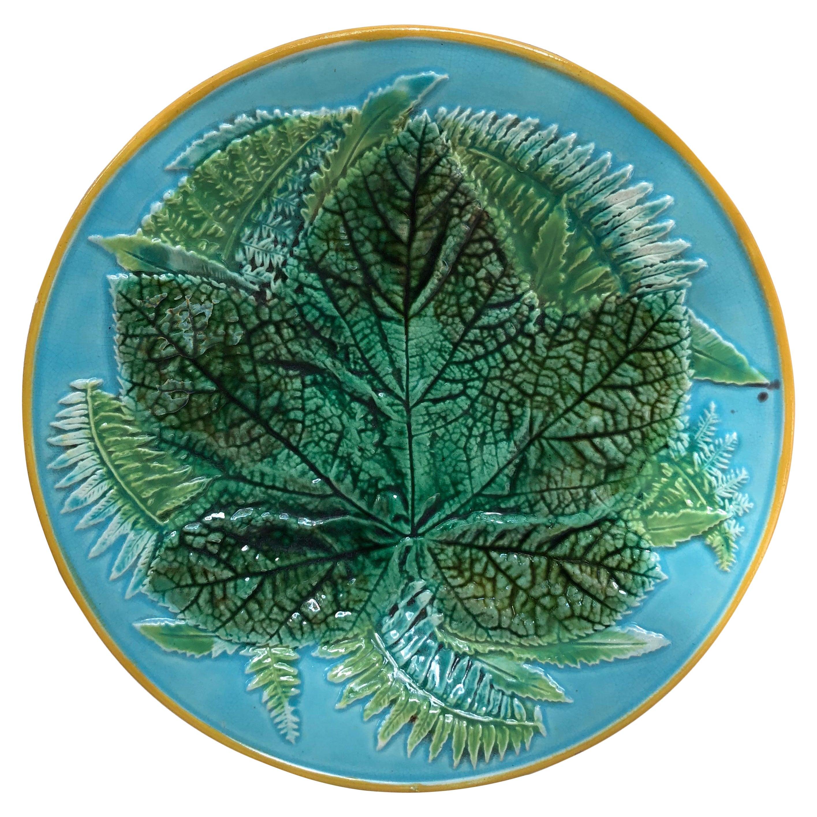Majolica Leaves Plate, George Jones, circa 1873
