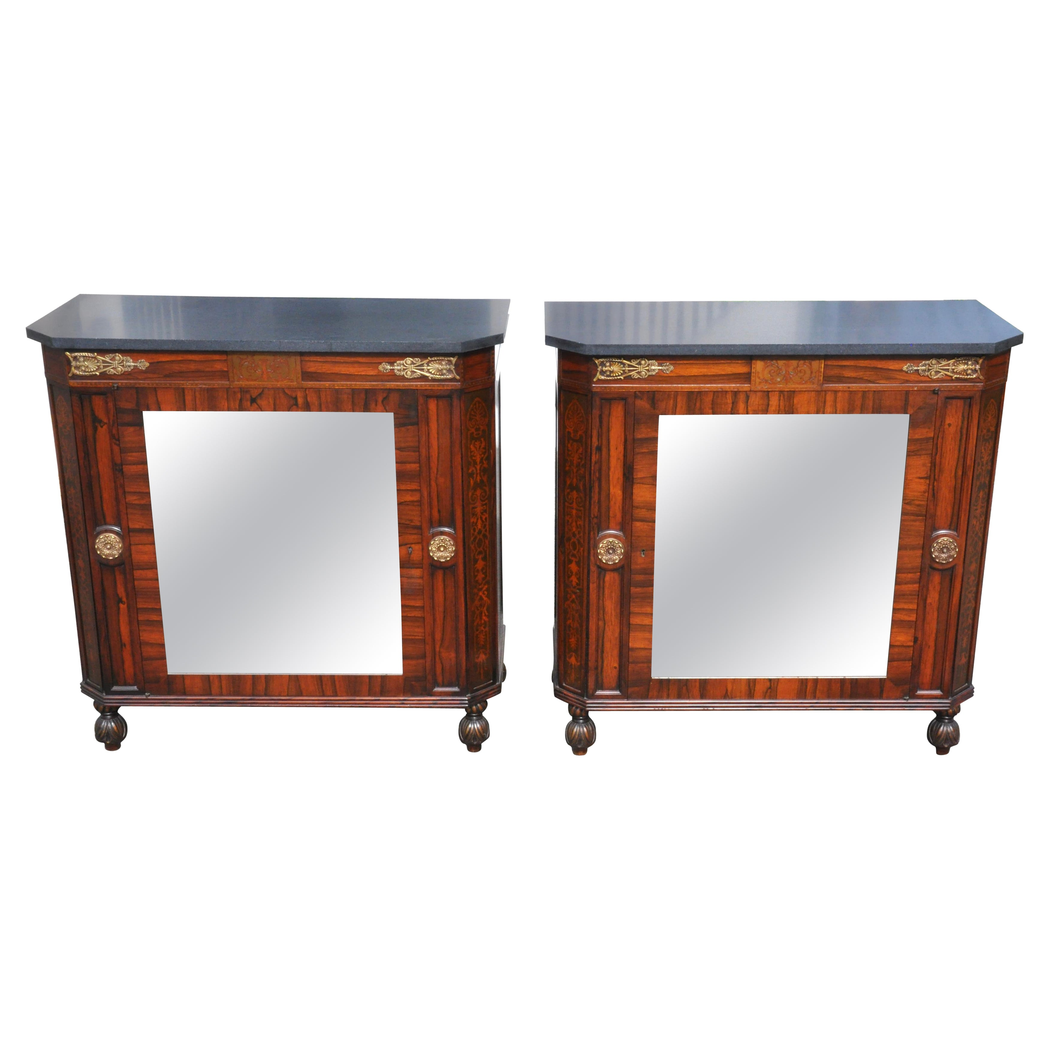 Pair of Regency Style Rosewood Side Cabinets