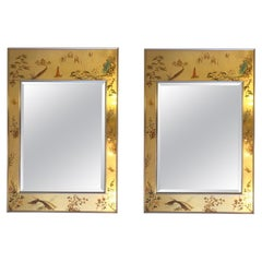 Pair of Gold Leaf Frame Wall Mirror by La Barge