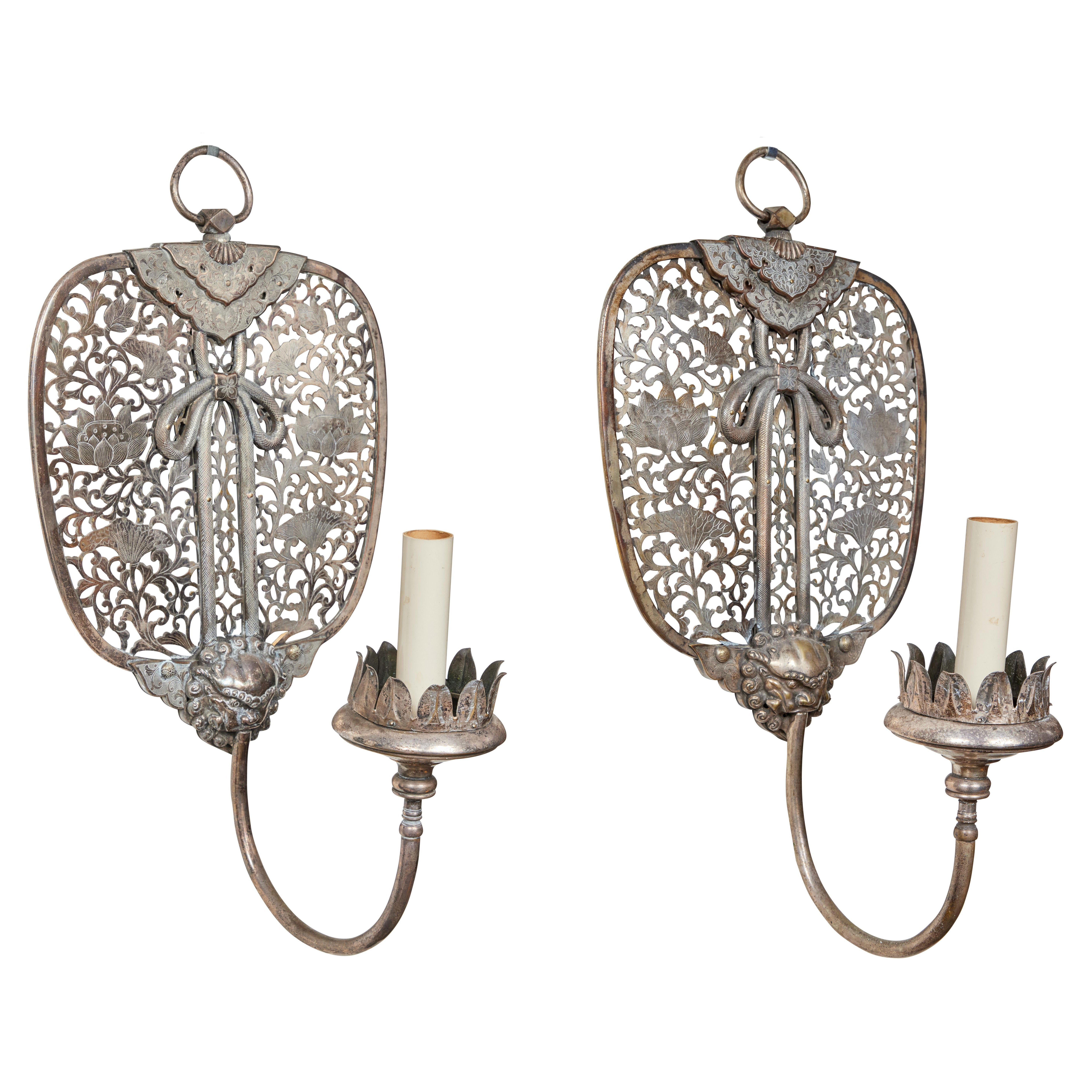Antique, Silver Plated Chinoiserie Sconces