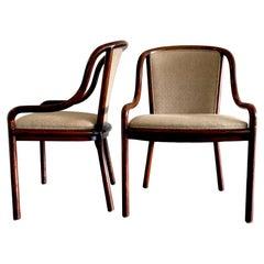 Pair of 1960's Ward Bennett for Brickel Associates Midcentury Ash & Tan Chairs