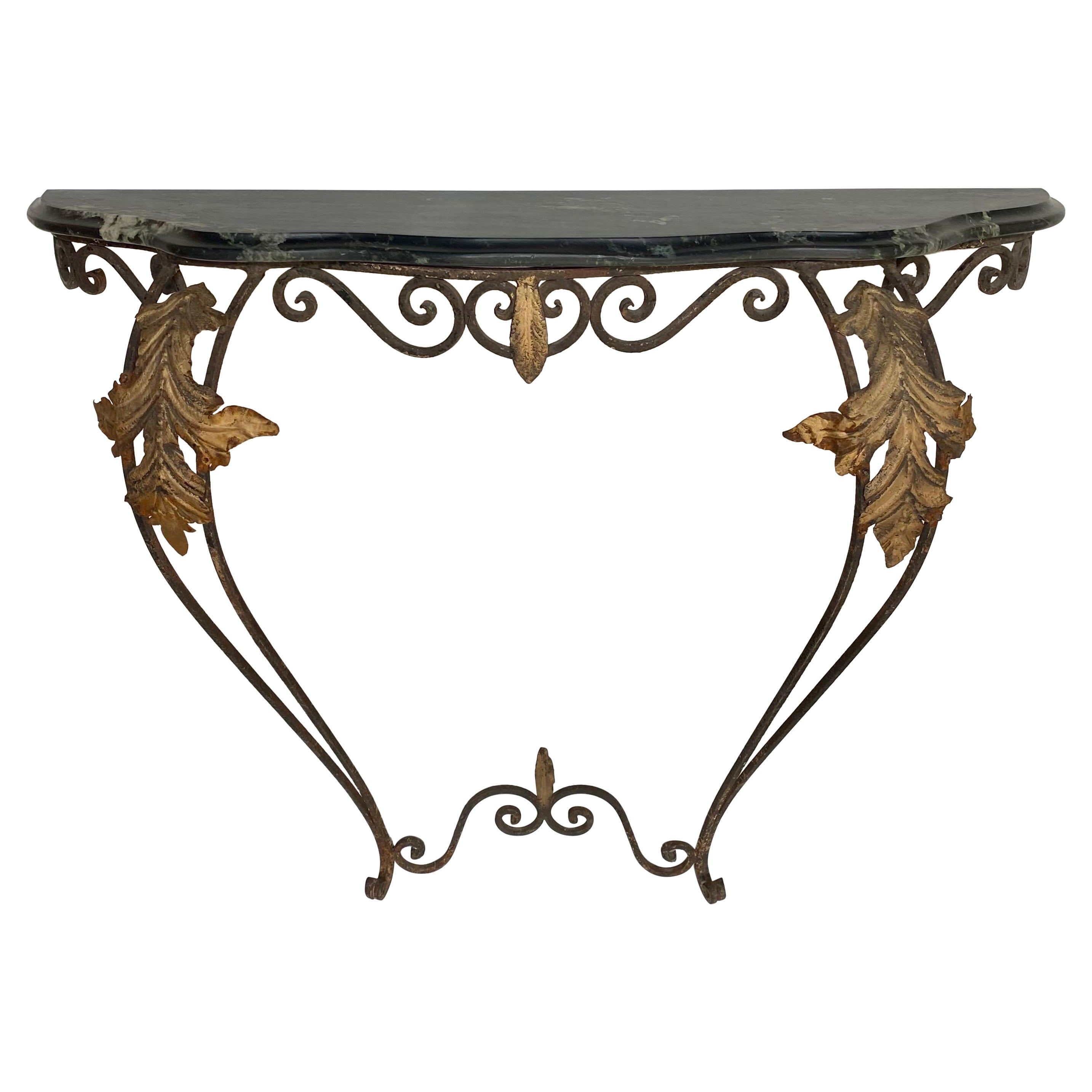 French Louis XV Style Gilt Wrought Iron and Marble Wall Mount Console Table