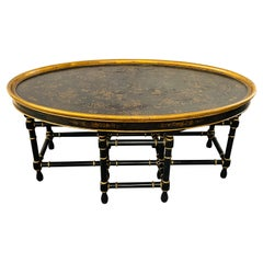 Antique English Chinoiserie Style Oval Coffee Table with Faux Bamboo Legs