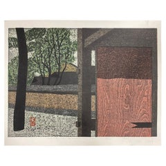 Kiyoshi Saito Signed Limited Edition Japanese Print Gate in Biyodo-in Uji, 1967