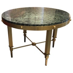 Neoclassical Brass and Marble Coffee Table by Maxime Old, France 1955