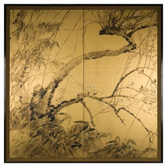 Japanese Two Panel Screen Painting of Plum Tree