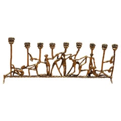 Brutalist Figurative Brass Menorah in the Style of Frederick Weinberg
