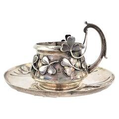 Heavy Antique French Art Nouveau Sterling Silver Cup & Saucer Set 'No Liner'