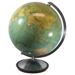 Midcentury Glass Globe with Light from Columbus Duoerdglobe, Germany