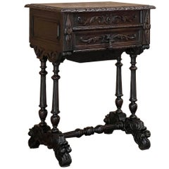 19th Century French Renaissance End Table, Jewelry Box, Sewing Table