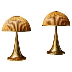 Pair of Brass Table Lamps with Wooden Shades