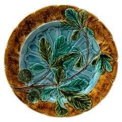 Majolica Chesnut Leaf Plate Sarreguemines, circa 1890