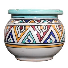 Ceramic Hand-Crafted Moroccan Covered Ashtray from Fez