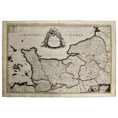 17th C. Hand-colored Map of the Normandy Region of France by Sanson and Jaillot