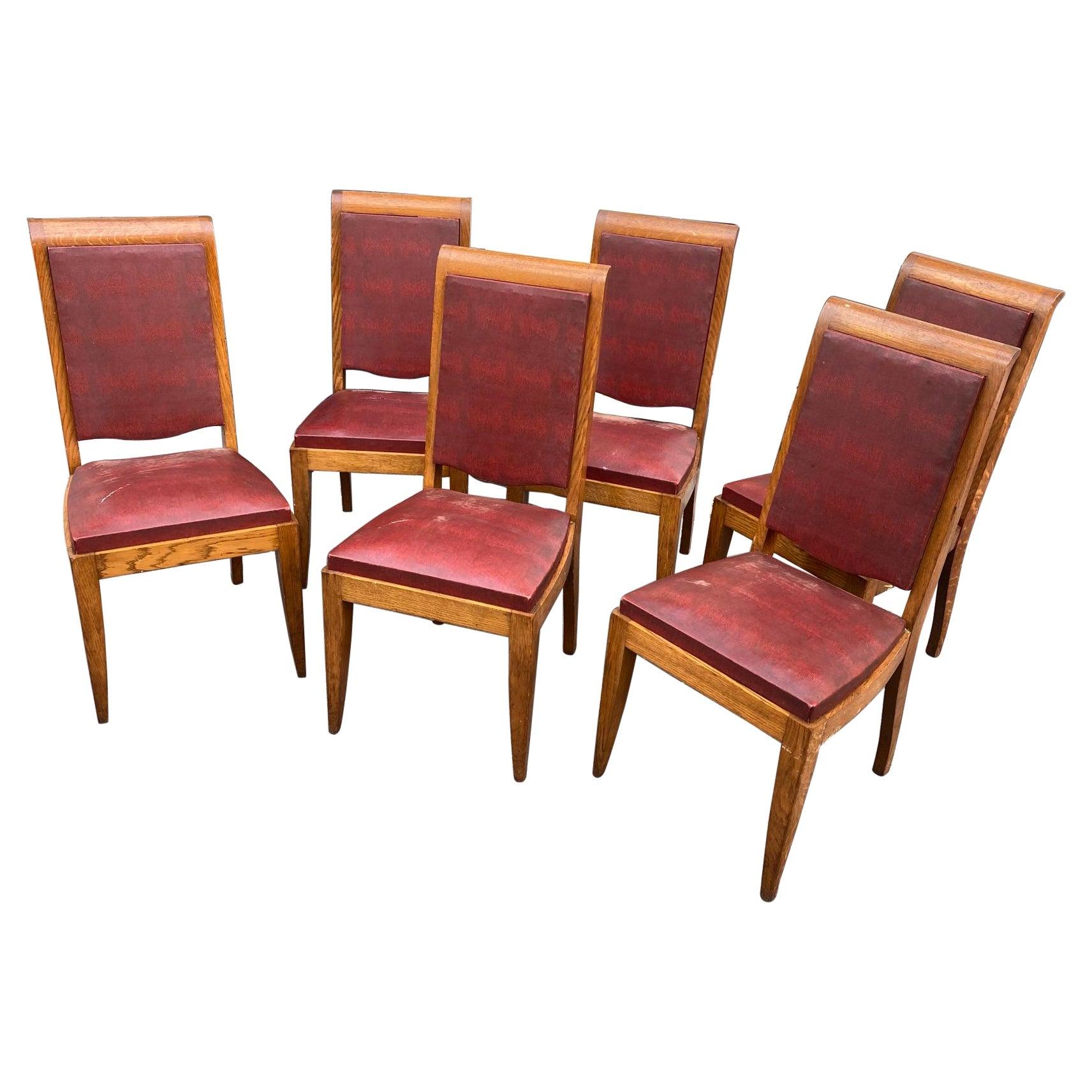 Gaston Poisson, Set of Six Art Deco Chairs in Oak, circa 1930/1940