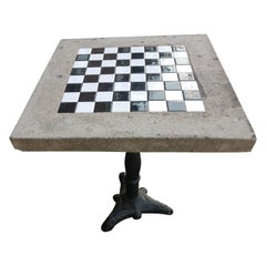 Cast Stone with Inset Ceramic Tile Outdoor Game Table