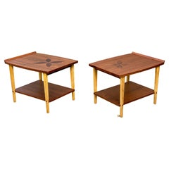 Mid-Century Modern End Tables with Rosewood Inlay by Lane Furniture