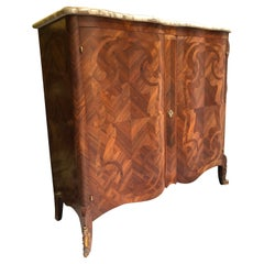 20th Century French Mahogany Inlay Serpentine Marble Top Commode