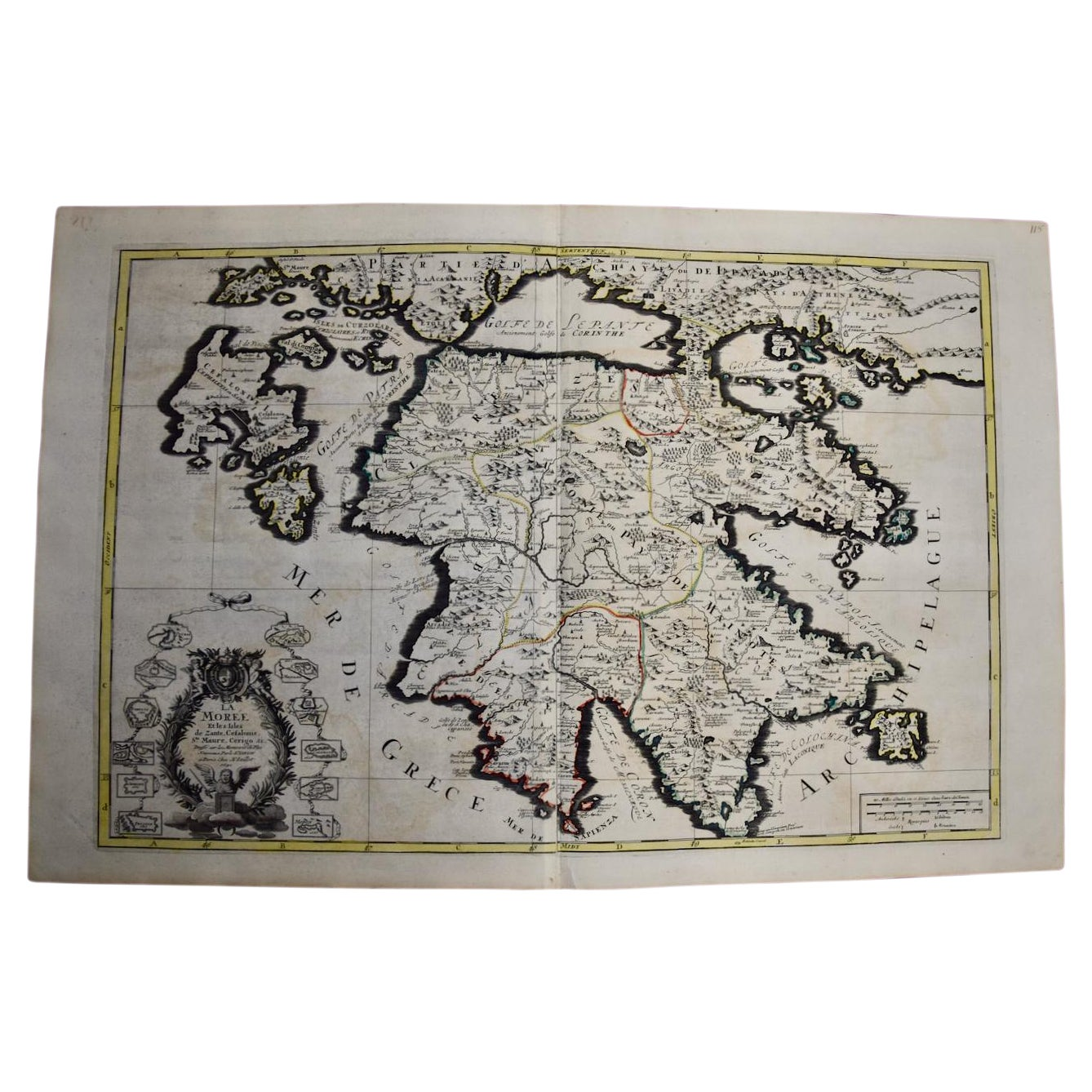 Large 17th C. Hand-colored Map of Southern Greece by Sanson and Jaillot