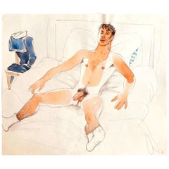 """""""Sailor in Repose,"""" Mid Century Watercolor w/ Male Nude by Emlen Etting"""