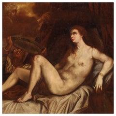 18th Century Oil on Canvas Italian Mythological Painting Danae, 1720