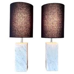 Pair of Marble Square Column Table Lamps in the Manner of T.H. Robsjohn-Gibbings