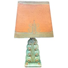 """""""The Wave,"""" Very Rare Art Deco Table Lamp by Gregory for Cowan w/ Original Shade"""