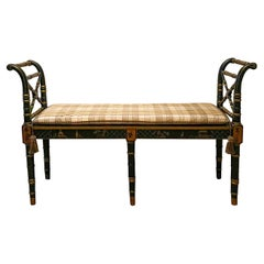 20th Century Regency Style Chinoiserie Painted Black and Gilt Lacquer Bench