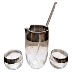 Dorothy Thorpe Mid-Century Modern Silver Overlay Glass Cocktail Pitcher Set