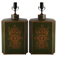 Early 20th-C. Signed French Neo-Classical Style Toleware Canister Lamps, Pair