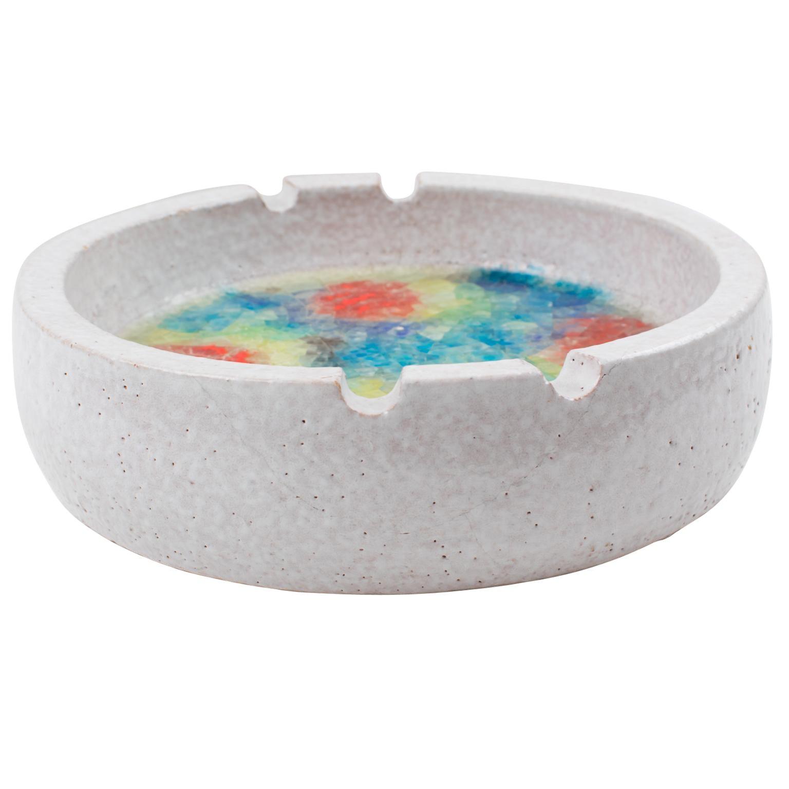 Bitossi Italy for Raymor Glaze Ceramic Ashtray Bowl with Glass Mosaic
