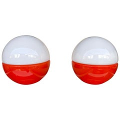 Pair of Murano Glass Ball Lamps by Mazzega, Italy, 1970s