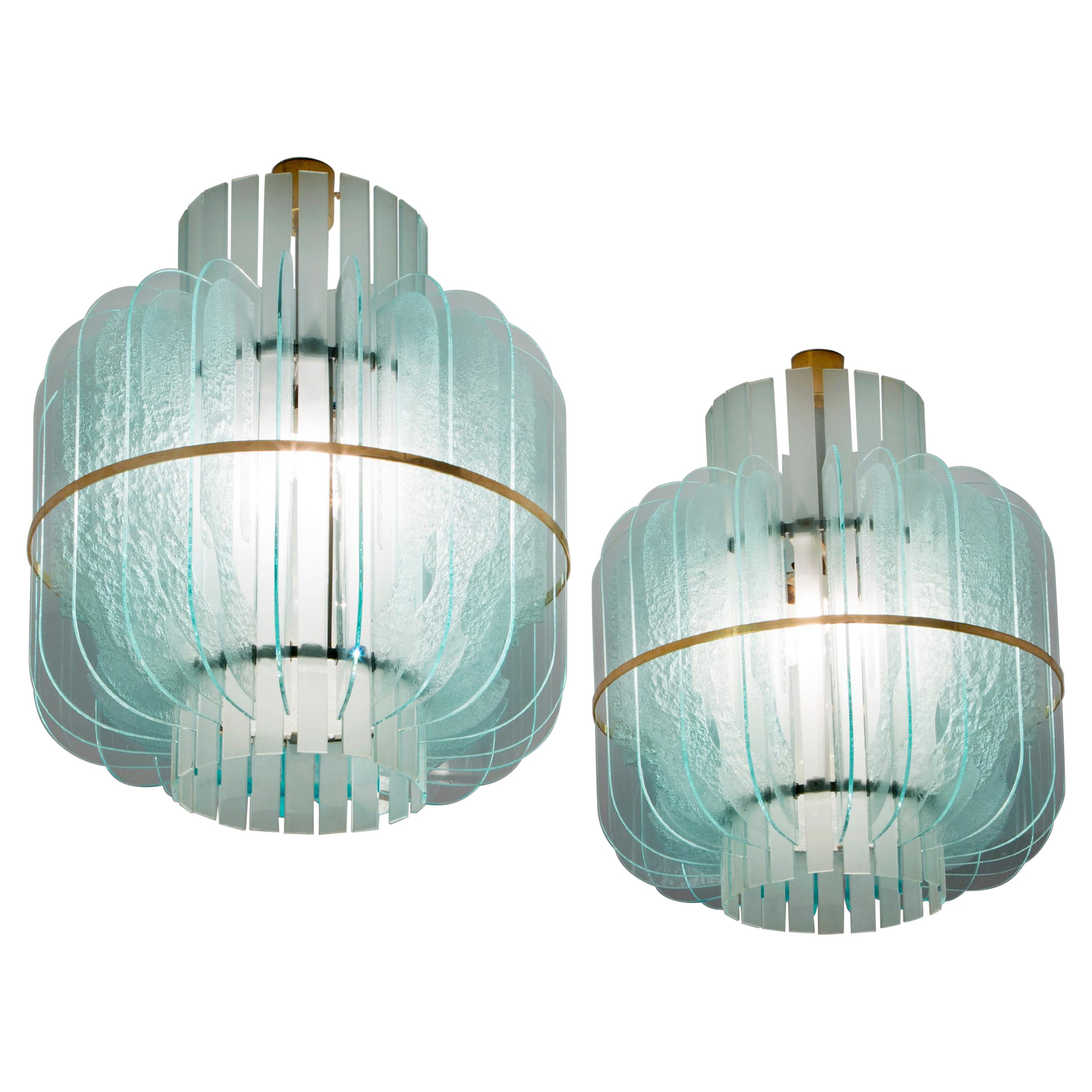 Cristal Arte Pendants with in Glass with Brass