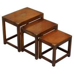 Rare Harrods London Kennedy Hardwood Military Campaign Nest of Side End Tables