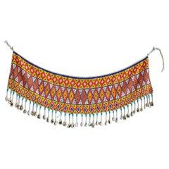 Vintage Handmade Multicolor Beaded Skirt from The Kirdi People, Cameroon 1970's