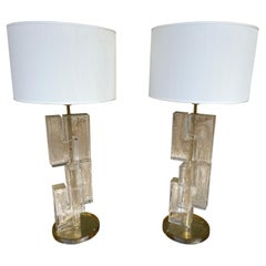 Contemporary Pair of Lamps Gold Leaf Cubic Murano Glass and Brass, Italy