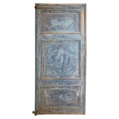 Antique Blue Lacquered Door with Three Carved Panels, 18th Century, Italy