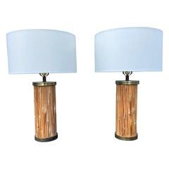 Mid-Century Modern Table Lamps, Brass and Bamboo