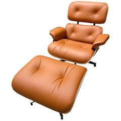 Charles Eames Cognac Lounge Chair & Ottoman, Herman Miller, 2011