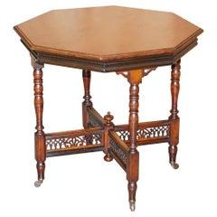 Lovely Antique Hexagon Centre Occasional Table Porcelain Castors Elegant Carving