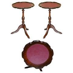 Pair of Vintage Hardwood Pie Crust Edge Oxblood Tripod Side End Lamp Wine Tables