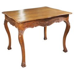 Early 1900s Antique Oak Side Table from France