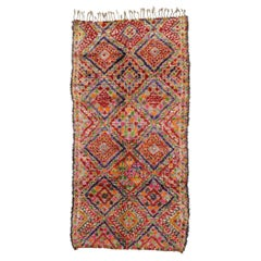 Vintage Berber Beni M'Guild Moroccan Rug with Mid-Century Modern Tribal Style
