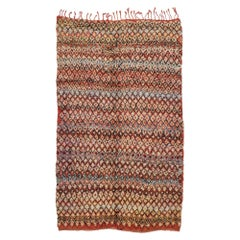 Vintage Berber Boujad Moroccan Rug with Mid-Century Modern Style