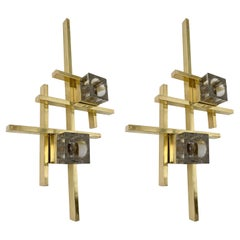 Contemporary Brass Murano Glass Cubic Sconces, Italy