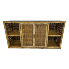 Mid-Century Rattan Credenza or Sideboard with Smoked Glass Top, 1970s