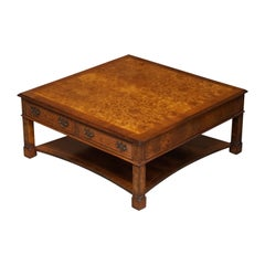 Brights of Nettlebed Burr Walnut Restored Large 4 Drawer Coffee Table